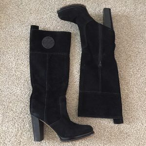 Tory Burch Tall Black Suede Knee Logo Boots 11